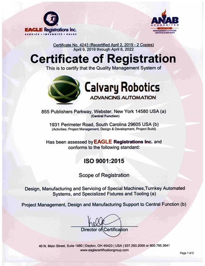 calvary robotics quality policy